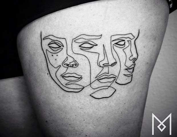 Tatuaże Rysowane Linią Ciągłą Cz 1